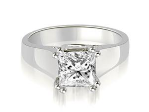 1.00 cttw. Dual Prong Solitaire Princess Diamond Engagement Ring in 18K White Gold (VS2, G-H)