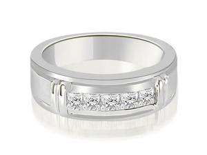 0.85 cttw. Princess Diamond Men's Wedding Ring in Platinum