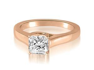 0.50 cttw. Classic Lucida Princess Diamond Engagement Ring in 18K Rose Gold