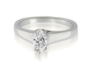 1.00 cttw. Trellis Solitaire Marquise Diamond Engagement Ring in 18K White Gold (SI2, H-I)