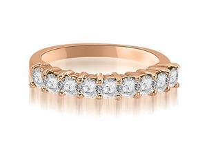 1.30 cttw. Round Diamond 9-Stone Prong Wedding Band in 18K Rose Gold (VS2, G-H)