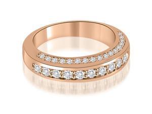 0.75 cttw. Elegant Round Cut Diamond Wedding Ring in 18K Rose Gold (VS2, G-H)
