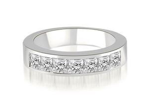 1.20 cttw. Princess Diamond 7-Stone Channel Wedding Band in 18K White Gold
