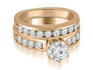1.95 cttw. Round Cut Diamond Engagement Set in 14K Rose Gold (VS2, G-H)