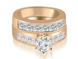 2.75 cttw. Channel Set Princess Cut Diamond Bridal Set in 14K Rose Gold (VS2, G-H)