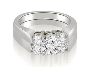 1.35 cttw. Round Cut Diamond Engagement Bridal Set in 14K White Gold