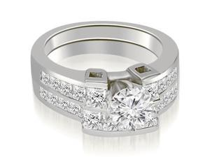 2.05 cttw. Channel Set Diamond Princess and Round Cut Bridal Set in 14K White Gold