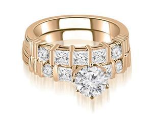 1.99 cttw. Princess And Round Cut Diamond Bridal Set in 14K Rose Gold (SI2, H-I)