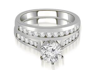 1.01 cttw. Channel Set Round Cut Diamond Bridal Set in 14K White Gold (SI2, H-I)