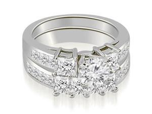 3.10 cttw. Channel Set Princess and Round Cut Diamond Engagement Set in 14K White Gold
