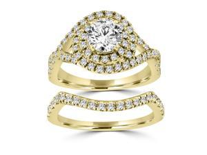 1.60ct Round Cut Double Halo Matching Wedding Set in 14kt Yellow Gold