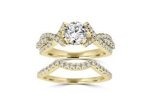 1.20 ct.tw Round Cut Split Shank Engagement Bridal Set 14kt Yellow Gold