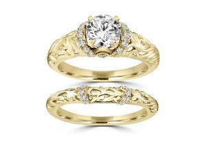 1.10 ct.tw Round Cut Antique Engagement Bridal Set 14kt Yellow Gold