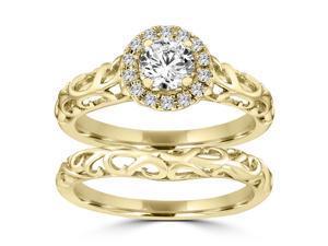 0.50ct.tw Round Cut Diamond Halo Vintage-style Engagement Bridal Set