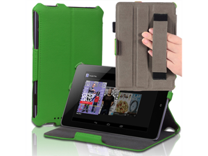 "Google Nexus 7 Case - Slim Fit Book Shell Folio Leather Hard Back Case Smart Cover Stand For Google Nexus 7"" Tablet with Auto Sleep & Wake Feature , Stylus Loop and Elastic Hand Strap Green"