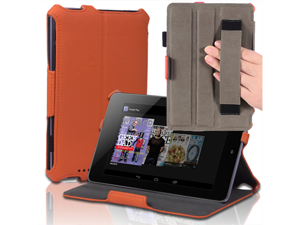 """Google Nexus 7 Case - Slim Fit Book Shell Folio Leather Hard Back Case Smart Cover Stand For Google Nexus 7"""" Tablet with Auto Sleep & Wake Feature , Stylus Loop and Elastic Hand Strap Orange"""