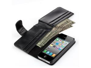 iPhone 4S Wallet Case , iPhone 4 Case - Synthetic Leather Wallet Case Flip Cover with Credit ID Card Slots and Money Pocket for Apple iPhone 4 4G 4S (Black)