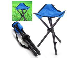 Outdoor Folding Chair For Hiking Fishing Camping Picnic Lawn Portable Pocket With 3 Leg Stool Triangle Tripod Seat Oxford Cloth Small Size Blue