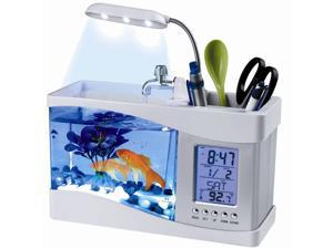 USB Desktop Aquarium Mini Fish Tank with Running Water LCD Time Clock Alarm Colorful LED Lamp Light Calendar Holds 1.5 Quart for Home Office Decor