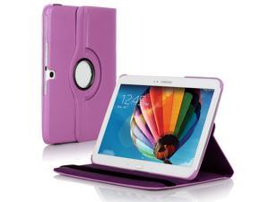 "Samsung Galaxy Tab 3 10.1 Case - 360 Degree Rotating Flip PU Leather Case Smart Cover Stand For Samsung Galaxy Tab 3 10.1"" P5200 P5210 with Auto Sleep & Wake Feature and Stylus Holder Purple"