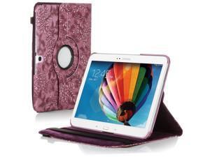 "Samsung Galaxy Tab 3 10.1 Case - 360 Degree Rotating Flip PU Leather Case Smart Cover Stand For Samsung Galaxy Tab 3 10.1"" P5200 P5210 with Auto Sleep & Wake Feature and Stylus Holder Grape Purple"