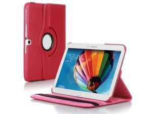 "Samsung Galaxy Tab 3 10.1 Case - 360 Degree Rotating Flip PU Leather Case Smart Cover Stand For Samsung Galaxy Tab 3 10.1"" P5200 P5210 with Auto Sleep & Wake Feature and Stylus Holder Pink"