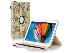 "Samsung Galaxy Tab 3 10.1 Case - 360 Degree Rotating Flip PU Leather Case Smart Cover Stand For Samsung Galaxy Tab 3 10.1"" P5200 P5210 with Auto Sleep & Wake Feature and Stylus Holder Map Beige"