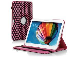 "Samsung Galaxy Tab 3 10.1 Case - 360 Degree Rotating Flip PU Leather Case Smart Cover Stand For Samsung Galaxy Tab 3 10.1"" P5200 P5210 with Auto Sleep & Wake Feature and Stylus Holder Polka Dot Pink"