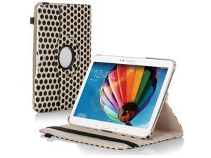 "Samsung Galaxy Tab 3 10.1 Case - 360 Degree Rotating Flip PU Leather Case Smart Cover Stand For Samsung Galaxy Tab 3 10.1"" P5200 P5210 with Auto Sleep & Wake Feature and Stylus Holder Polka Dot White"