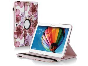 "Samsung Galaxy Tab 3 10.1 Case - 360 Degree Rotating Flip PU Leather Case Smart Cover Stand For Samsung Galaxy Tab 3 10.1"" P5200 P5210 with Auto Sleep & Wake Feature and Stylus Holder Flower Pink"