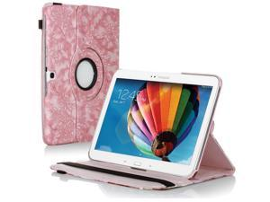 "Samsung Galaxy Tab 3 10.1 Case - 360 Degree Rotating Flip PU Leather Case Smart Cover Stand For Samsung Galaxy Tab 3 10.1"" P5200 P5210 with Auto Sleep & Wake Feature and Stylus Holder Grape Pink"