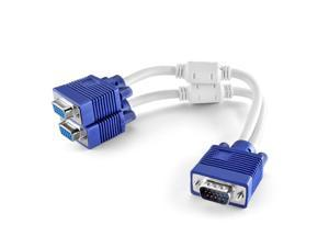 VGA Monitor Y Splitter Cable Male to 2 Dual Female Adapter Cord