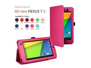 Google Nexus 7 II Case - Slim Fit Folio PU Leather Case Smart Cover Stand For Google Nexus 7 2013 2nd Generation Tablet with Auto Sleep & Wake Feature and Stylus Holder Pink