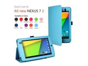 Google Nexus 7 II Case - Slim Fit Folio PU Leather Case Smart Cover Stand For Google Nexus 7 2013 2nd Generation Tablet with Auto Sleep & Wake Feature and Stylus Holder Blue