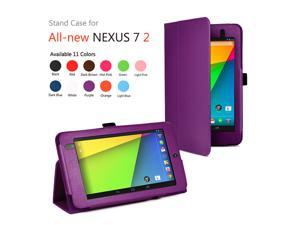 Google Nexus 7 II Case - Slim Fit Folio PU Leather Case Smart Cover Stand For Google Nexus 7 2013 2nd Generation Tablet with Auto Sleep & Wake Feature and Stylus Holder Purple