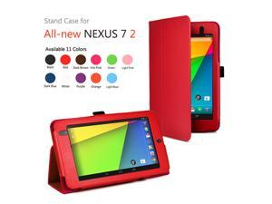 Google Nexus 7 II Case - Slim Fit Folio PU Leather Case Smart Cover Stand For Google Nexus 7 2013 2nd Generation Tablet with Auto Sleep & Wake Feature and Stylus Holder Red