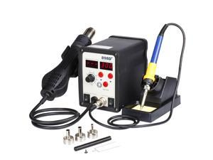 Professional Soldering Station SMD Hot Air Gun 2in1 Iron Solder Digital Dual LCD Set Rework Welder Repaire Tool with 3 Nozzles Power Switches Unit Electric 110V 898D