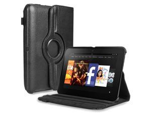 """Amazon Kindle Fire HD 7 Case - 360 Degree Rotating PU Leather Case Smart Cover Stand For Amazon Kindle Fire HD 7"""" 2012 Previous Model with Auto Sleep Wake Function and Stylus Holder Black"""