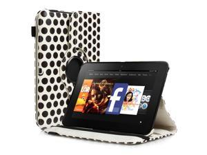 """Amazon Kindle Fire HD 7 Case - 360 Degree Rotating PU Leather Case Smart Cover Stand For Amazon Kindle Fire HD 7"""" 2012 Previous Model with Auto Sleep Wake Function and Stylus Holder Polka Dot White"""