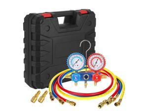 "Ac Refrigerant Manifold Gauges HVAC Air Conditioning Charging Service Set PSI Kit Halogen Diagnostic Tool for R22 R410a R404a with Three 60"" Hoses in Red Blue Yellow"