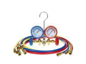 "R410a 2-Valve Refrigerant Manifold Gauges 60"" Hoses A/C Air HVAC Halogen Freon"