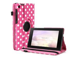Google Nexus 7 II Case - 360 Degree Rotating Leather Case Smart Cover Stand For Google Nexus 7 II 2nd Gen 2013 Tablet with Auto Sleep & Wake Feature and Stylus Holder Polka Dot Pink