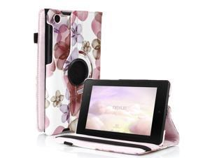 Google Nexus 7 II Case - 360 Degree Rotating Leather Case Smart Cover Stand For Google Nexus 7 II 2nd Gen 2013 Tablet with Auto Sleep & Wake Feature and Stylus Holder Flower Pink