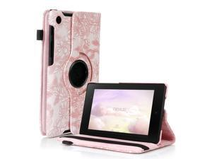 Google Nexus 7 II Case - 360 Degree Rotating Leather Case Smart Cover Stand For Google Nexus 7 II 2nd Gen 2013 Tablet with Auto Sleep & Wake Feature and Stylus Holder Grape Pink