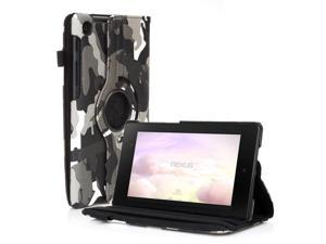 Google Nexus 7 II Case - 360 Degree Rotating Leather Case Smart Cover Stand For Google Nexus 7 II 2nd Gen 2013 Tablet with Auto Sleep & Wake Feature and Stylus Holder Camouflage Black & Gray