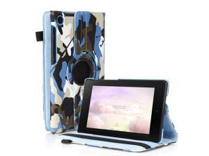 Google Nexus 7 II Case - 360 Degree Rotating Leather Case Smart Cover Stand For Google Nexus 7 II 2nd Gen 2013 Tablet with Auto Sleep & Wake Feature and Stylus Holder Camouflage Blue