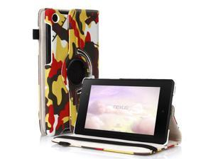 Google Nexus 7 II Case - 360 Degree Rotating Leather Case Smart Cover Stand For Google Nexus 7 II 2nd Gen 2013 Tablet with Auto Sleep & Wake Feature and Stylus Holder Camouflage Yellow