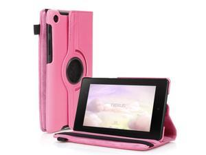 Google Nexus 7 II Case - 360 Degree Rotating Leather Case Smart Cover Stand For Google Nexus 7 II 2nd Gen 2013 Tablet with Auto Sleep & Wake Feature and Stylus Holder Pink