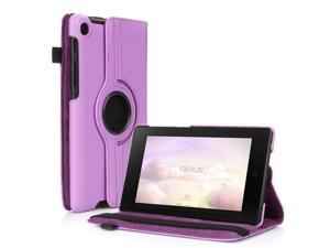 Google Nexus 7 II Case - 360 Degree Rotating Leather Case Smart Cover Stand For Google Nexus 7 II 2nd Gen 2013 Tablet with Auto Sleep & Wake Feature and Stylus Holder Purple