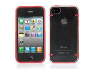 iPhone 4S/4 Case ,Hard Rubber iPhone 4S 4 Case - Ultra Thin Rugged Rubber Matte Snap on Hard Case Cover Skin For Apple iPhone 4S iPhone 4 with White Bumper Crystal Transparent TPU Back Red